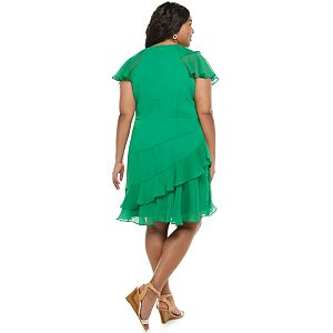 Plus Size Chaps A-Line Dress With Ruffle Detail