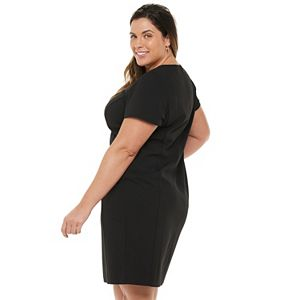 Plus Size Chaps Splitneck Sheath Dress