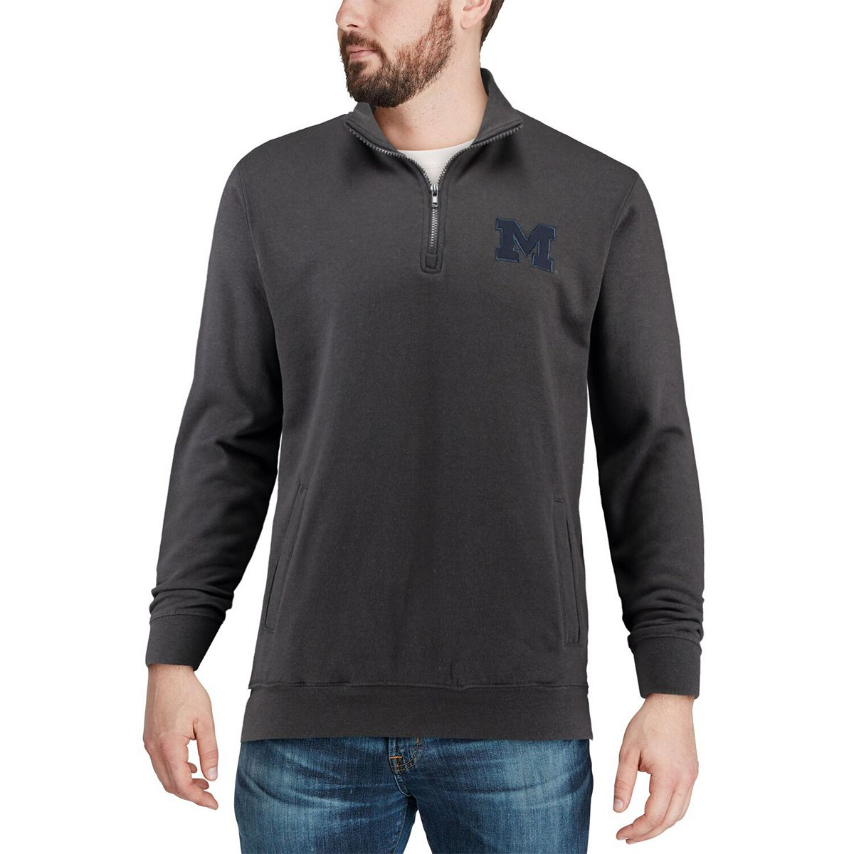 Men's Colosseum Charcoal Michigan Wolverines Team Logo Quarter-Zip Pullover Jacket 4bfn5