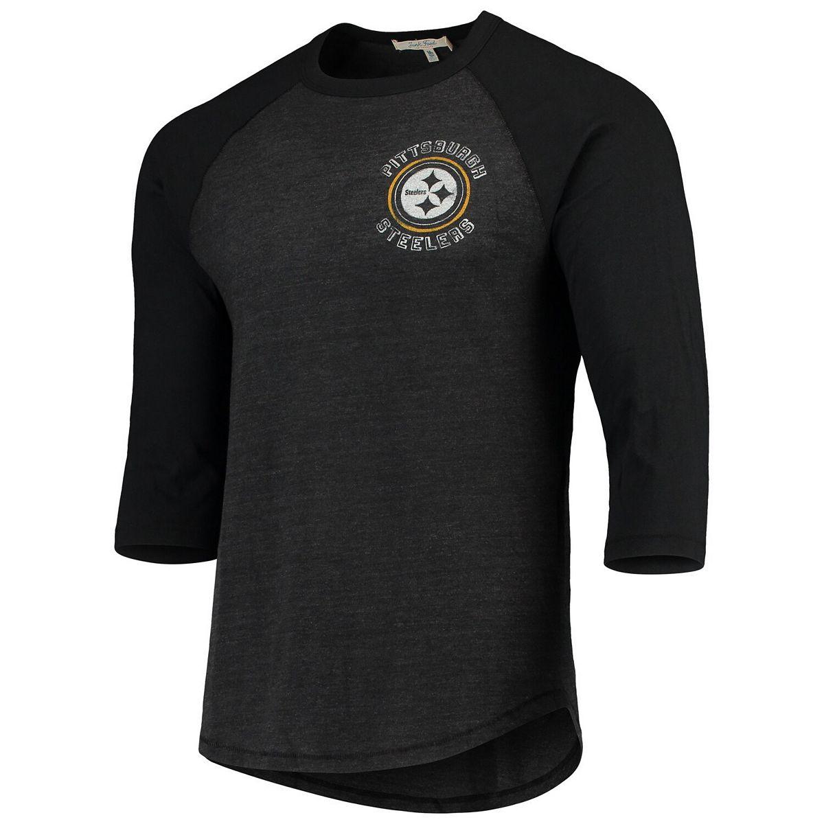 Men's Junk Food Heathered Black/Black Pittsburgh Steelers Contrast 3/4-Sleeve Raglan Tri-Blend T-Shirt GpaEi