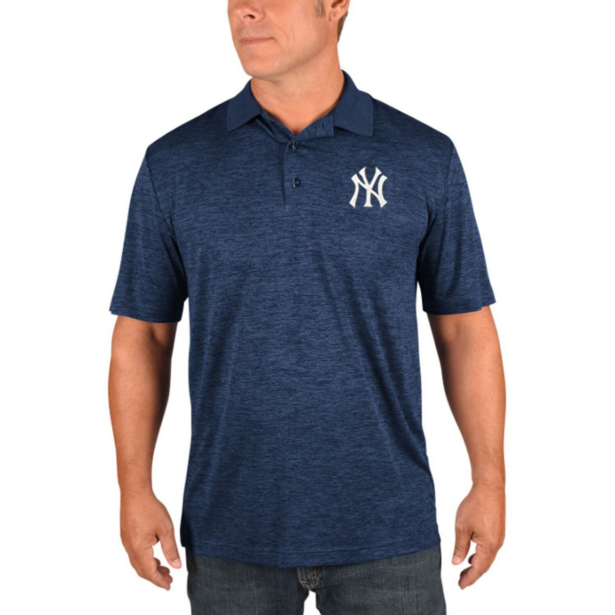 Men's Majestic Navy New York Yankees Targeting Success Domestic Cool Base Polo M5dgf