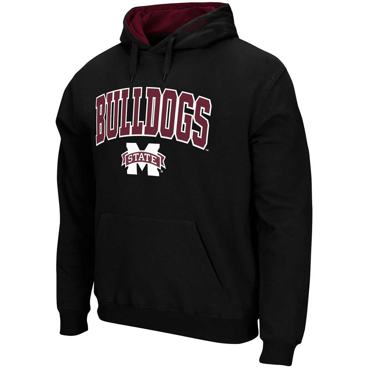 Men's Colosseum Black Mississippi State Bulldogs Arch & Logo Pullover Hoodie cRgpX
