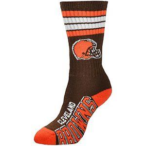 Women's For Bare Feet Cleveland Browns 4-Stripe Deuce Crew Socks