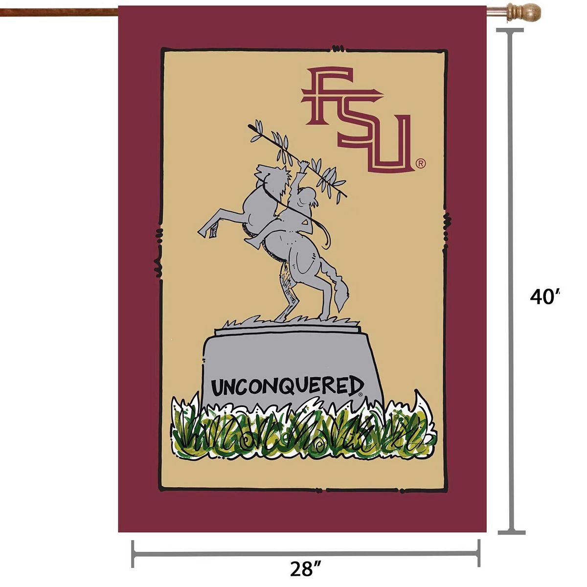 """Florida State Seminoles 28"""" x 40"""" Double-Sided House Flag 4CwYK"""
