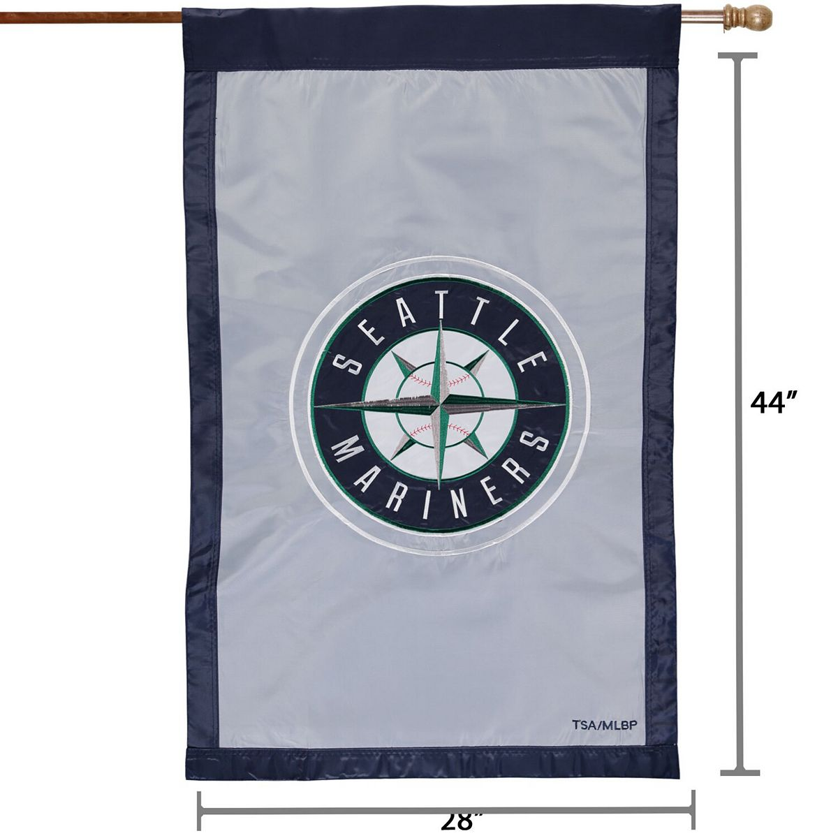 """Seattle Mariners 28"""" x 44"""" Applique Double-Sided House Flag WTgFG"""