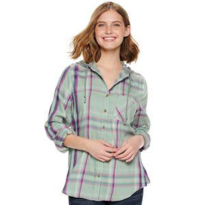 Juniors' Mudd Button Down Hoodie Shirt