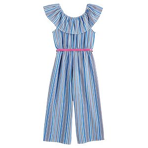 Girls 4-6x Knitworks Striped Jumpsuit with Embroidered Neck Ruffle and Belt