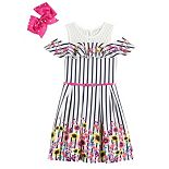 Girls 4-6x Knit Works Embroidered Skater Dress with Belt and Bow
