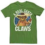 Men's Shrek Christmas Puss in Boots A Real Santa Claws Tee
