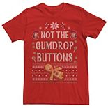 Men's Shrek Not The Gumdrop Buttons Ugly Sweater Style Christmas Graphic Tee