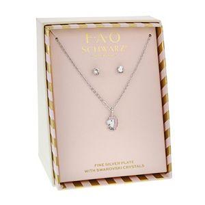 FAO Schwarz Silver Tone Unicorn Pendant Necklace & Earring Set