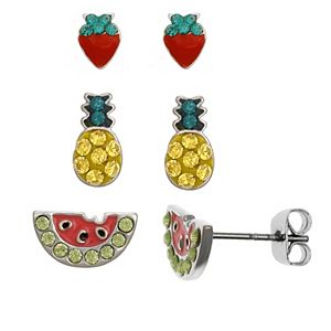 FAO Schwarz Strawberry, Pineapple, Watermelon Stud Earring Set