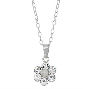 Charming Girl Sterling Silver Simulated Pearl Flower Pendant Necklace with Swarovski Crystal