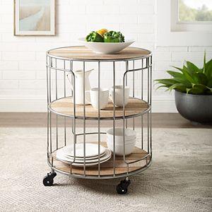 Linon Ani 3-Tier Metal & Wood Rolling Cart