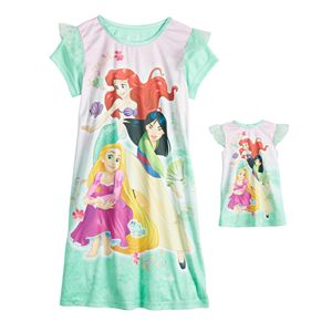 Disney Princess Girls 4-8 Nightgown & Doll Gown