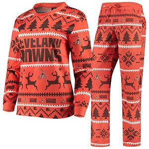 Women's Orange Cleveland Browns Holiday Pajama Set