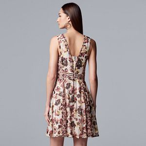 Petite Simply Vera Vera Wang Print Fit & Flare Dress