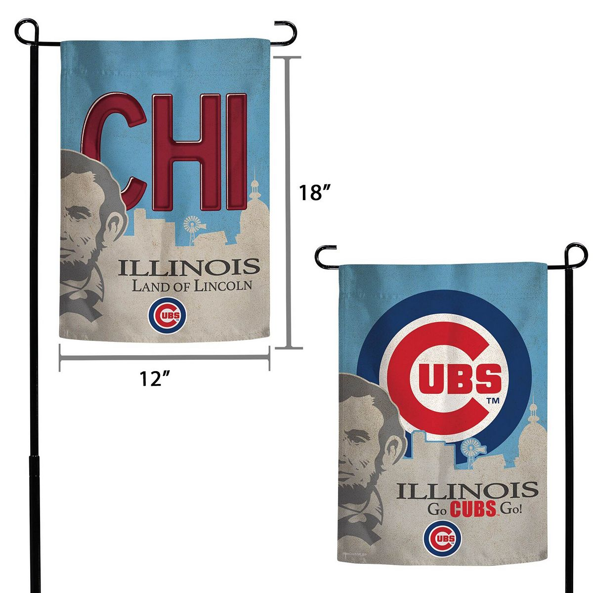 "WinCraft Chicago Cubs Illinois State License Plate Two-Sided 12"" x 18"" Garden Flag mbaM5"