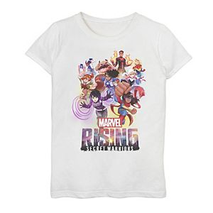 Girls 7-16 Marvel Rising Secret Warriors Hero Action Pose Collage Graphic Tee