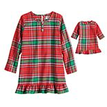 Girls 4-16 Jammies For Your Families® Jingle All The Way Plaid Dorm Nightgown & Doll Dress Set