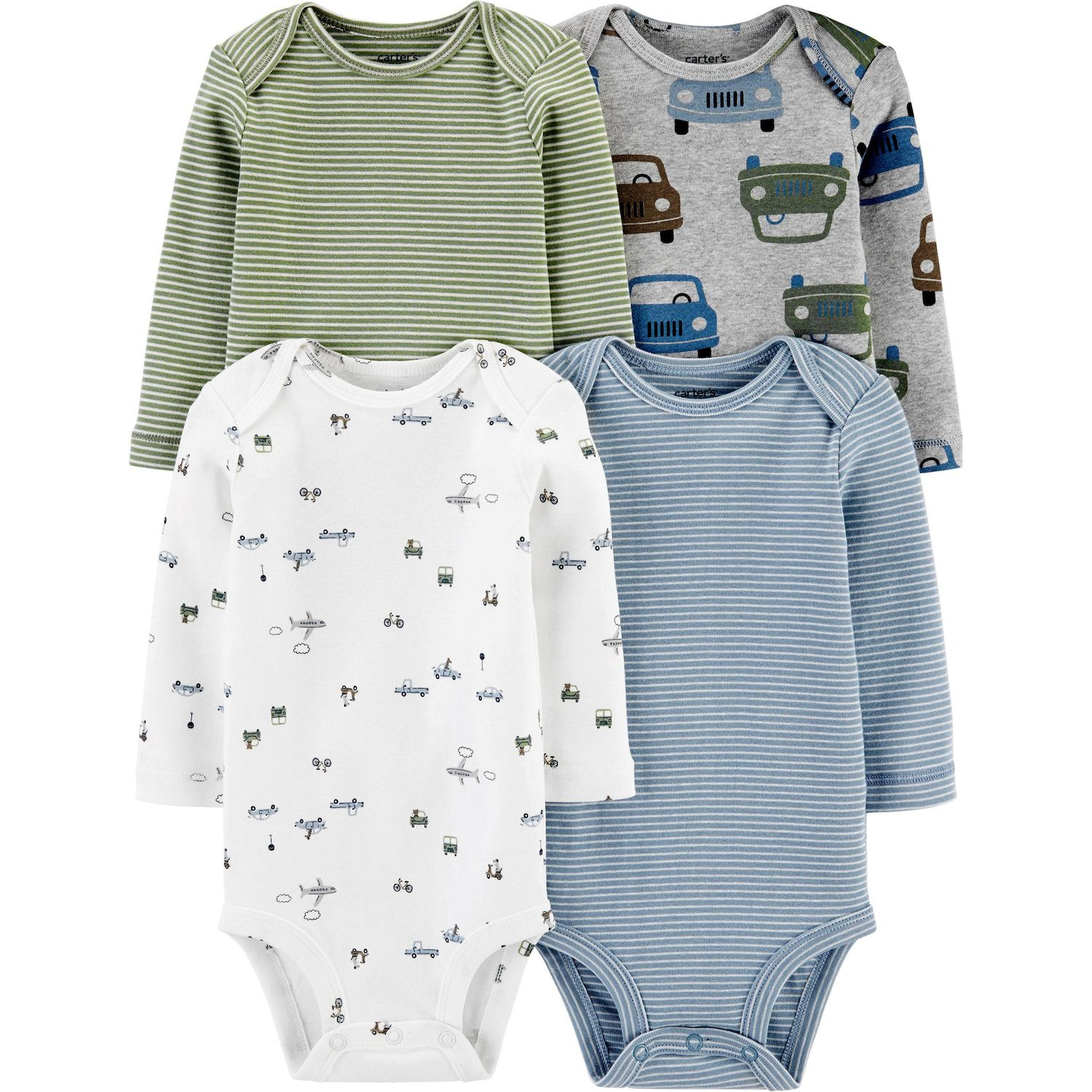 12M  $26 NEW CARTER/'S BABY BOY 4 PACK LONG SLEEVE BODYSUITS 9M