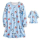 Girls 4-16 Jammies For Your Families® Cool Penguin Gown & Doll Dress Set by Cuddl Duds