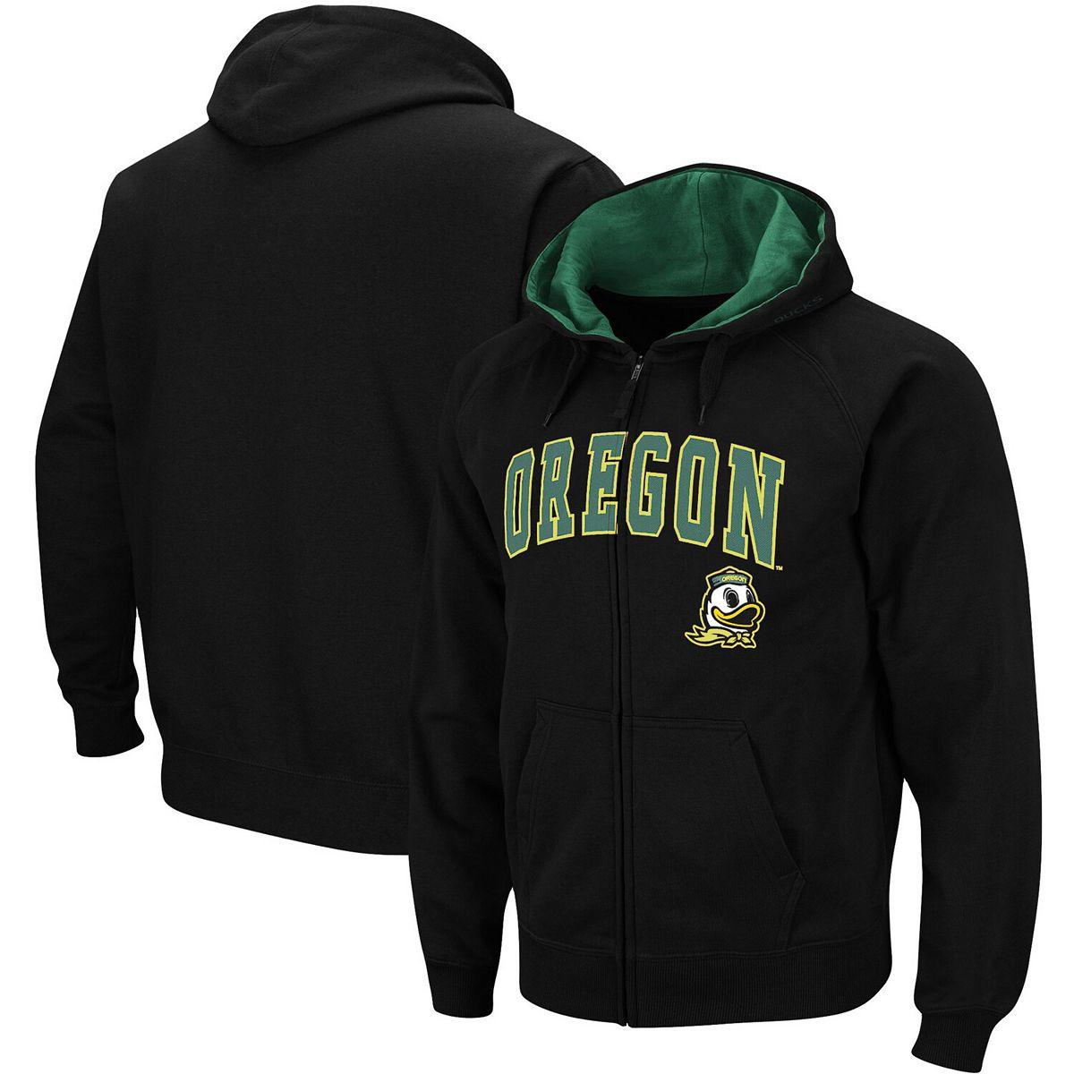 Men's Black Oregon Ducks Arch & Logo Tackle Twill Full-Zip Hoodie 7WJL9