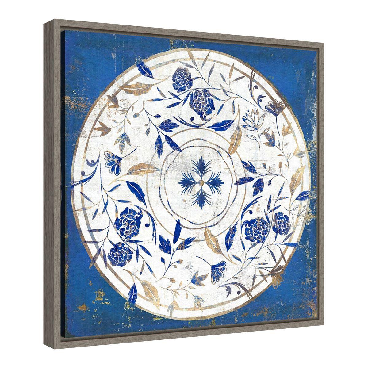 Amanti Art Indigo Tile II Framed Canvas Wall Art Bpocz
