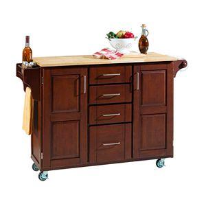Wood-Top Cabinet Kitchen Cart